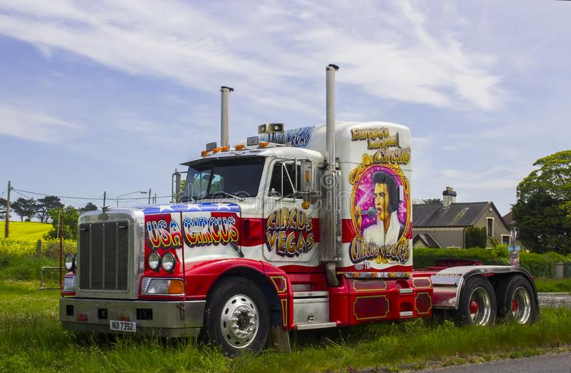 A hugh Peterbilt articulated circus lorry day cab. 15 May 2019. A huge Peterbilt articulated tractor cab used by an American Circus on tour iand parked up on a stock images