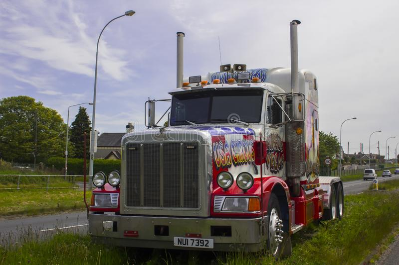 A hugh Peterbilt articulated circus lorry day cab. 15 May 2019. A huge Peterbilt articulated tractor cab used by an American Circus on tour iand parked up on a royalty free stock photos