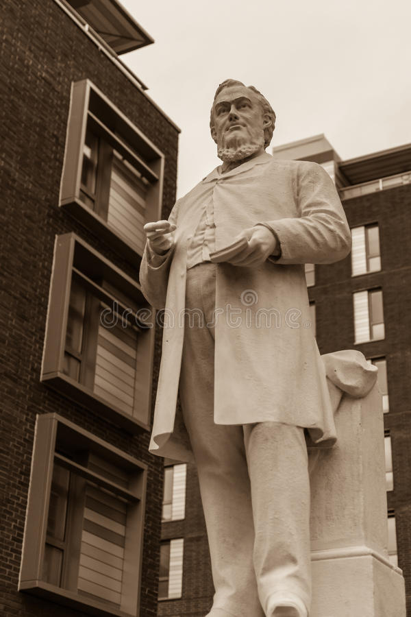 Hugh Stowell Brown statue Hope Street. ENGLAND, LIVERPOOL - 15 NOV 2015: Hugh Stowell Brown statue Hope Street stock photography