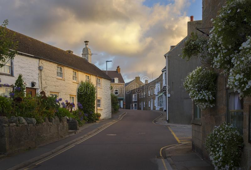 Hugh Town, St Mary, ilhas de Scilly, Inglaterra imagens de stock