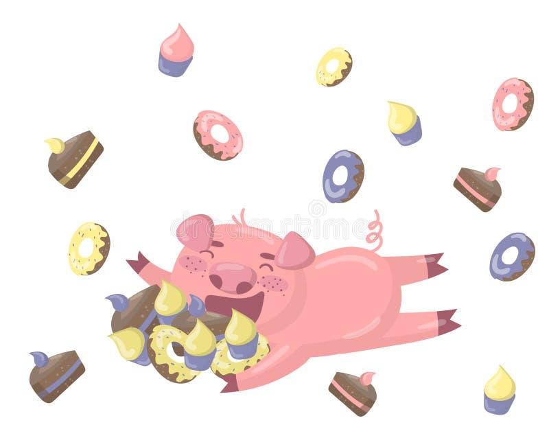 hugiing很多甜点的滑稽的小的猪字符 在动画片样式,传染媒介例证,设计元素的愉快的猪为 库存例证