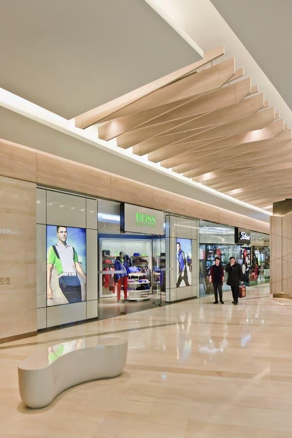 Hugo Boss-afzet in het centrumwinkelcomplex van Kerry, Peking, China royalty-vrije stock afbeeldingen