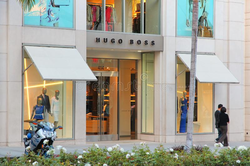 Hugo Boss Beverly Hills. LOS ANGELES, USA - APRIL 5, 2014: Hugo Boss store in Beverly Hills district of Los Angeles. Beverly Hills is famous for its luxury stock image