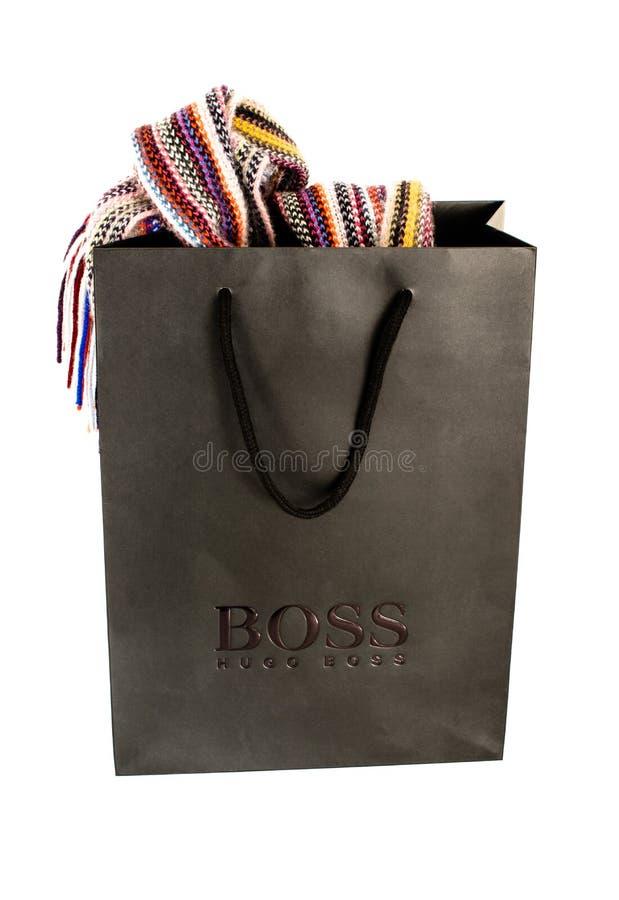 Hugo Boss Black Shopping Bag com índices sobre imagens de stock royalty free