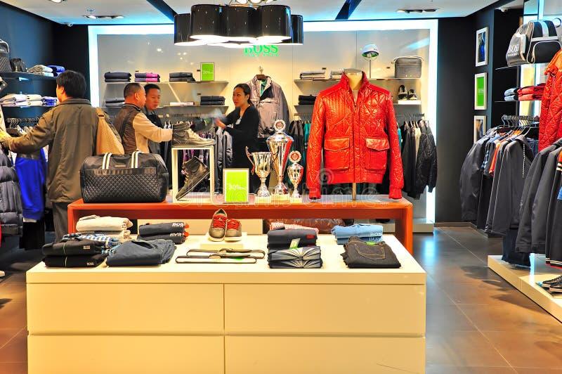 Hugo boss retail store, hong kong royalty free stock photography