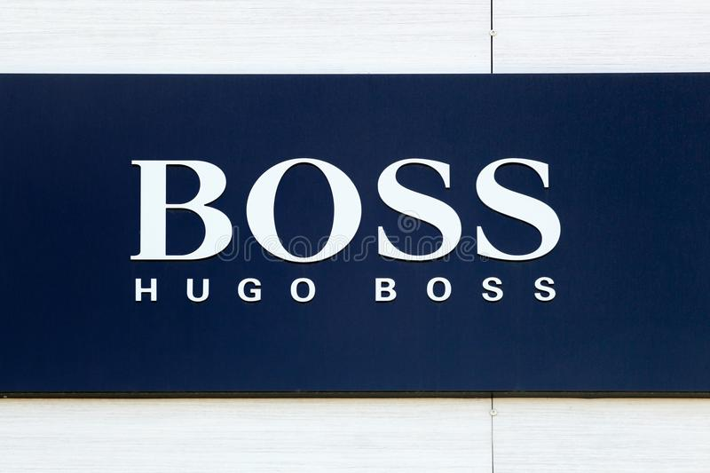 Hugo Boss sign on a store royalty free stock photo
