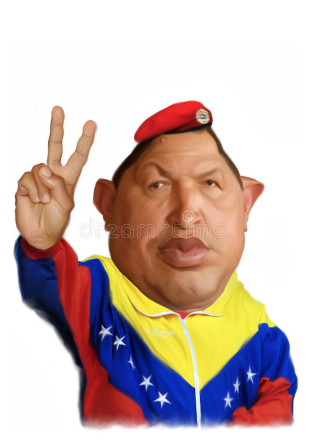 Hugo Chavez caricature. For editorial use