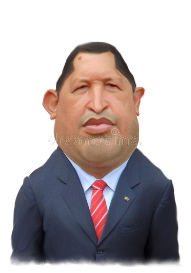Hugo Chavez caricature Portrait. For editorial use