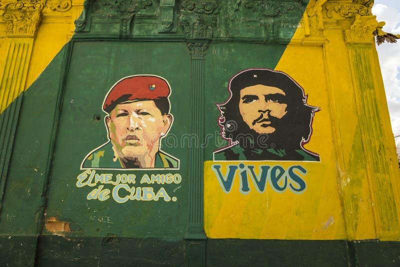 Hugo Chavez and Che Guevara Havana. Hugo Chavez and Che Guevara painted on a wall in Old Havana (Spanish: Habana Viejo), Cuba royalty free stock images