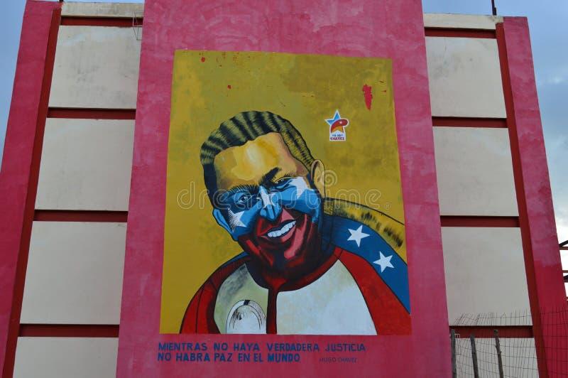 Hugo Chavez on the wall stock photo