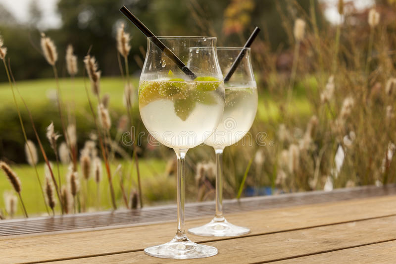 Hugo prosecco elderflower soda ice summer drink. Outdoor aperitif stock photo