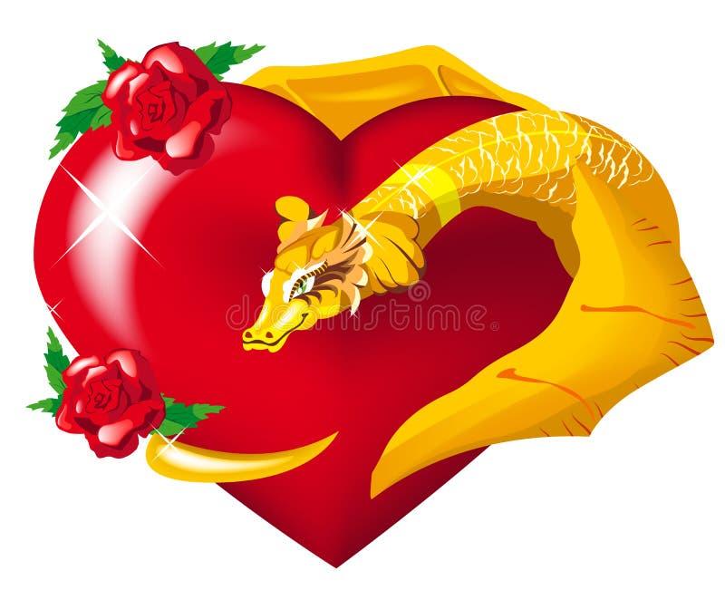 Hugs do coração do dragão do ouro ilustração royalty free