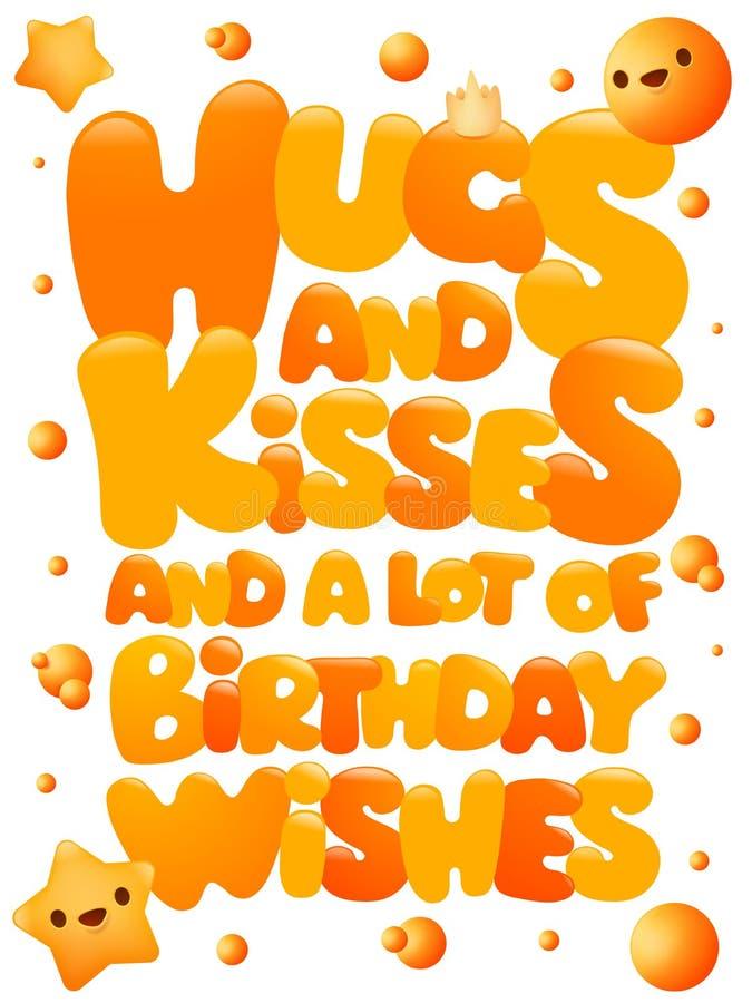 Hugs and kisses happy birthday emoji concept greeting card stock illustration