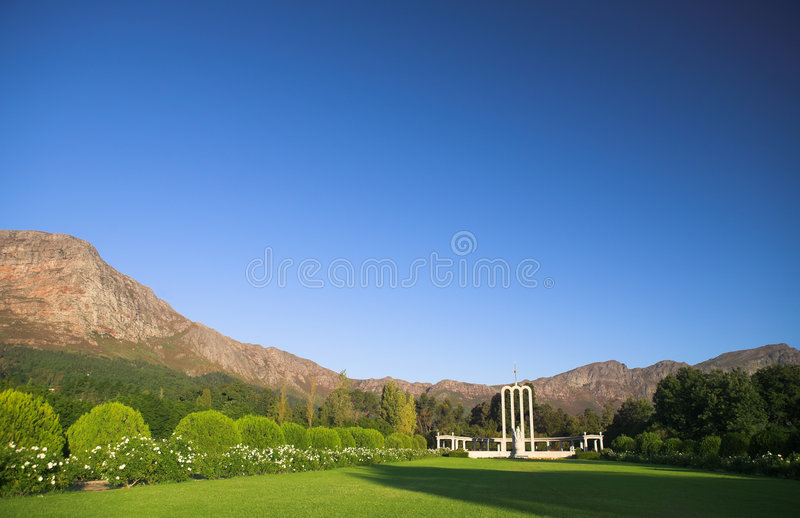 Download The Huguenot Monument stock photo. Image of blue, mountains - 7591496