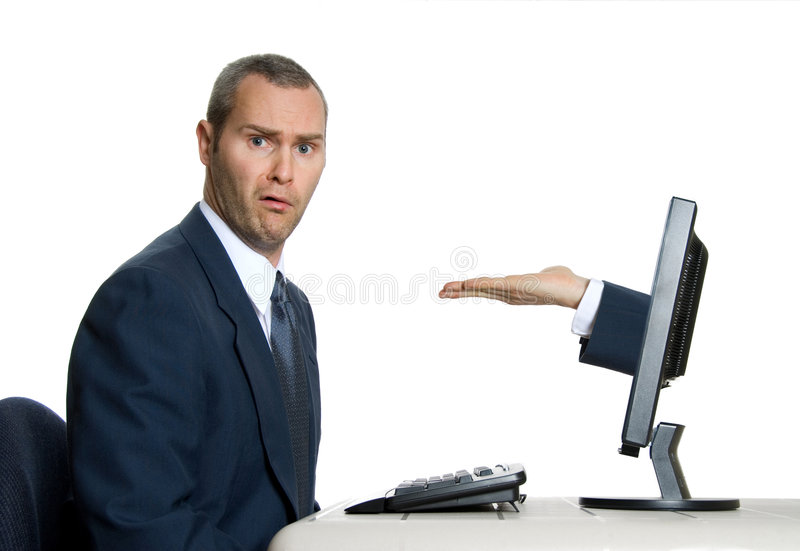 Huh?. Hand coming out of lcd screen with baffled man stock photos