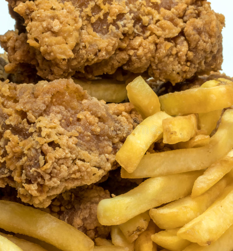 Huhn mit Chips stockfoto