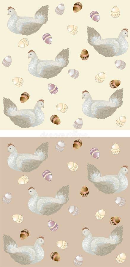 Huhn mit Ostereiern. Nahtloser Hintergrund. stock abbildung