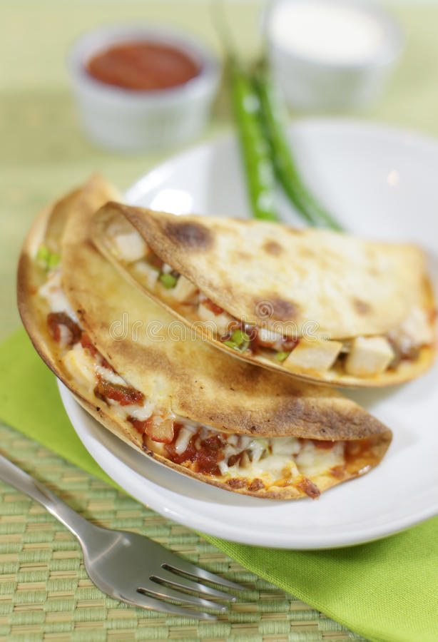 Huhn quesadilla stockfotografie