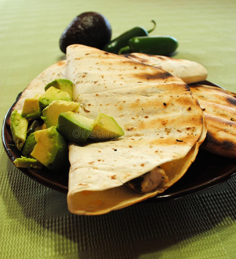 Huhn Quesadillas stockfotos