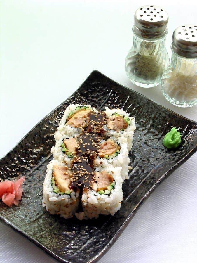 Huhn rollt Sushi stockbilder