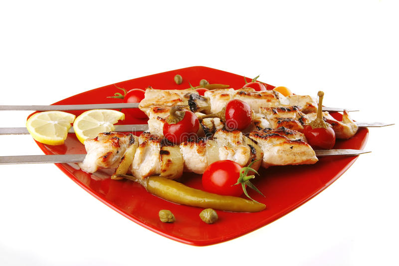 Huhn shish kebab mit Gemüse stockfotos