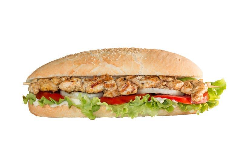 Huhn spießt Sandwich auf weißem Hintergrund auf lizenzfreie stockfotos