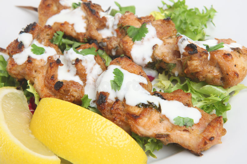 Huhn Tikka Kebabs stockfoto
