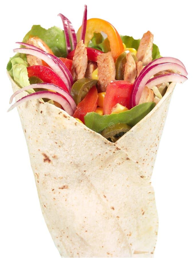 Huhn-Tortilla-Verpackung stockbilder