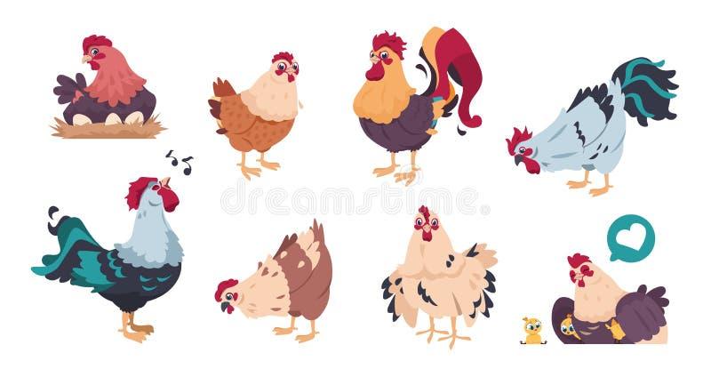 Huhn und Hahn Nette Geflügelfarmcharaktere, Karikaturküken mit den Babyhühnern lokalisiert Inländischer Vogelsatz des Vektors vektor abbildung