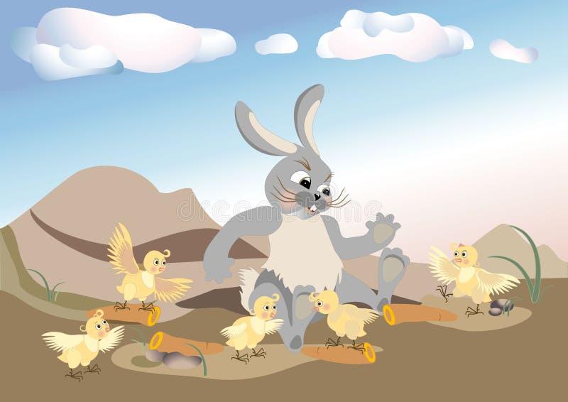 Huhn zum Besuchen Kaninchen Muster. lizenzfreie abbildung