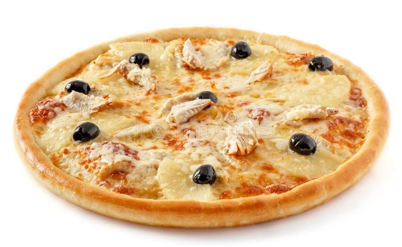 Huhnananaspizza stockbild