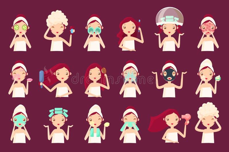 Huid en haarverzorging routinereeks, vrouwengezicht die met de verschillende gezichtskosmetiekprocedures, meisje haar huid behand stock illustratie