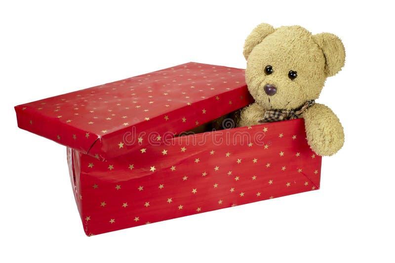 Huidige de verjaardagsKerstmis van de doosteddybeer royalty-vrije stock afbeeldingen