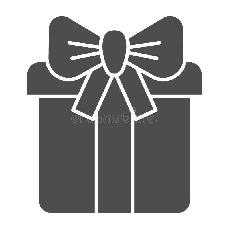 Huidige doos met boog stevig pictogram De vectordieillustratie van de giftdoos op wit wordt geïsoleerd Pakket met het ontwerp van stock illustratie