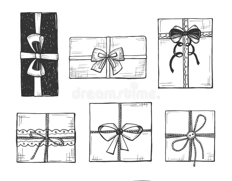 Huidige dozen met bogen vector illustratie