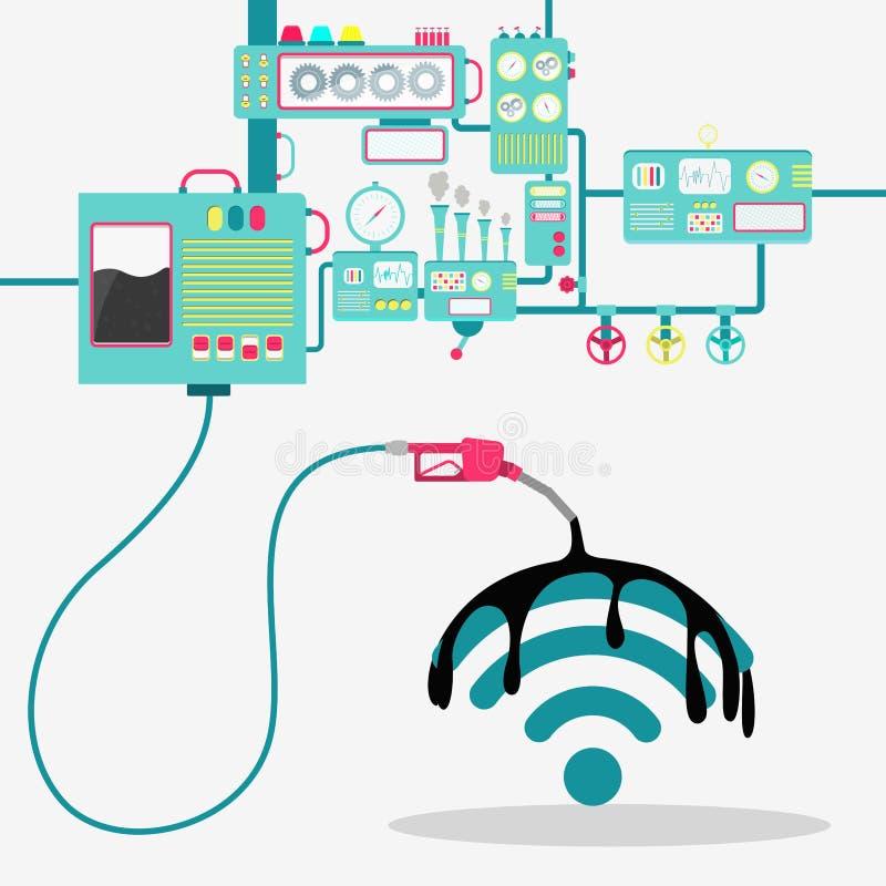 Huile au-dessus du signe de Wifi illustration de vecteur