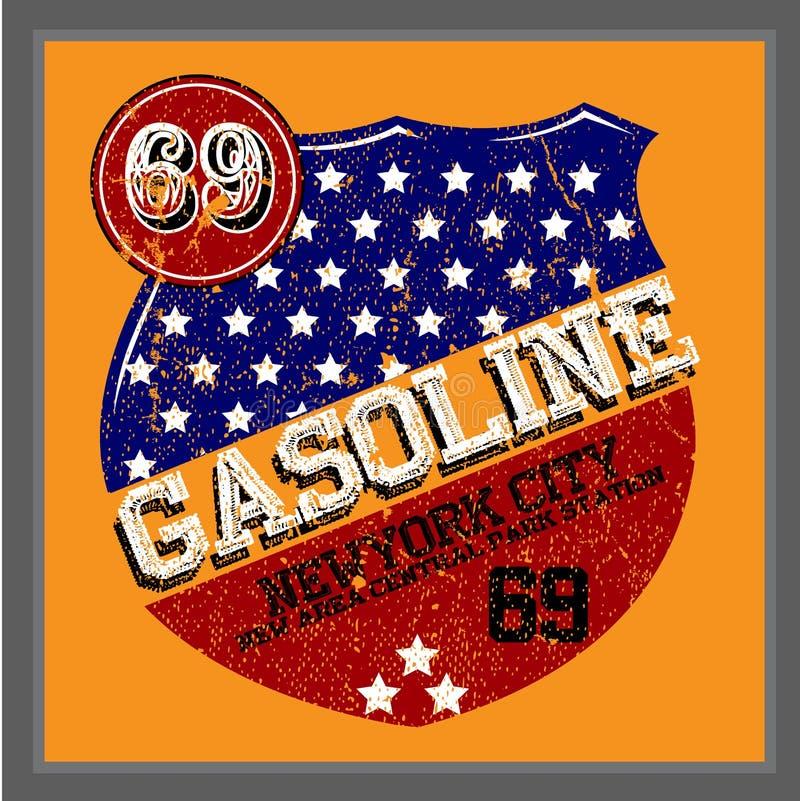 Huile d'essence et de moteur de vintage | Impression de T-shirt illustration libre de droits