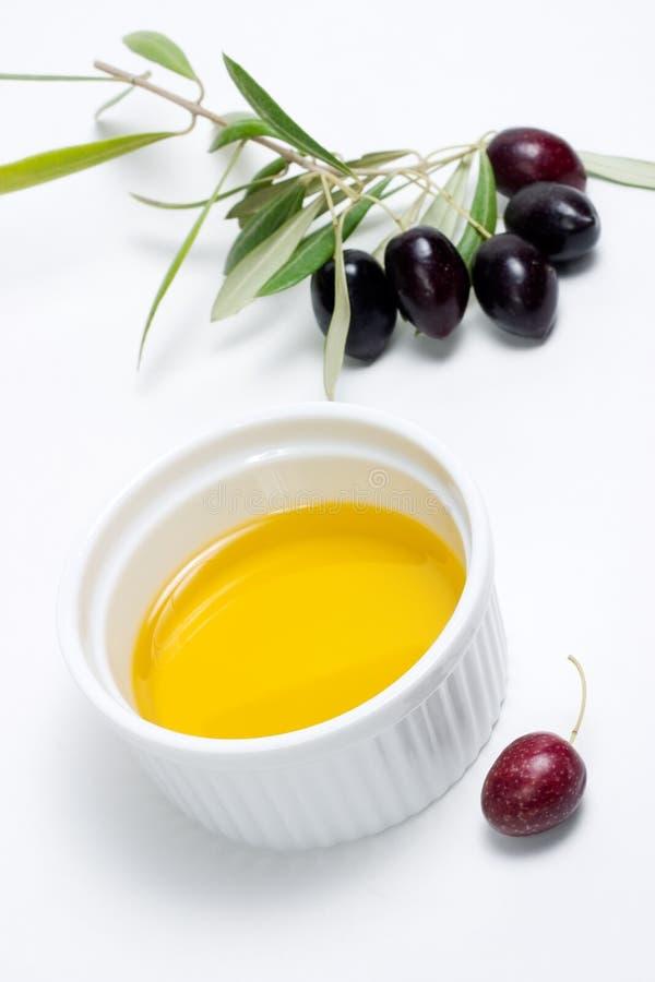 Huile de brindille d'olives et d'olive pure photo libre de droits