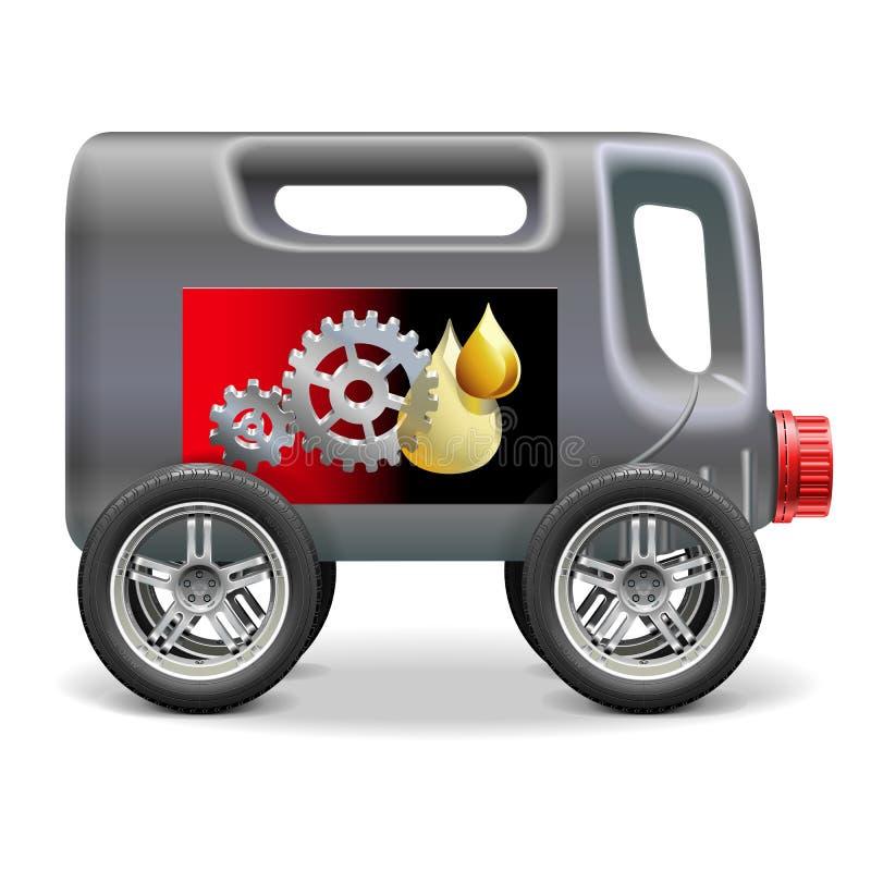 Huile de moteur de vecteur sur des roues illustration de vecteur