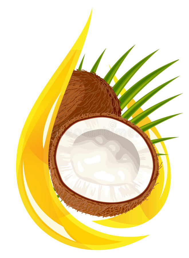 Huile de noix de coco. Baisse stylisée. illustration de vecteur