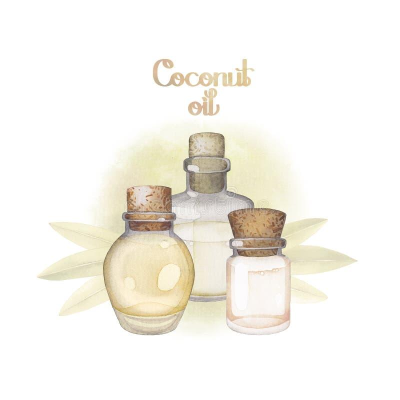 Huile de noix de coco d'aquarelle illustration de vecteur