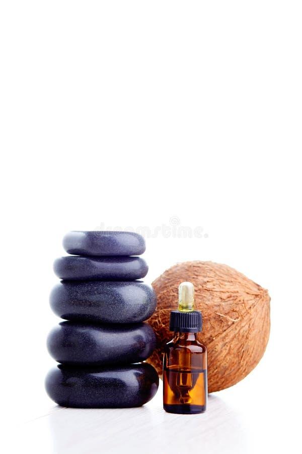 Huile essentielle de noix de coco photo stock