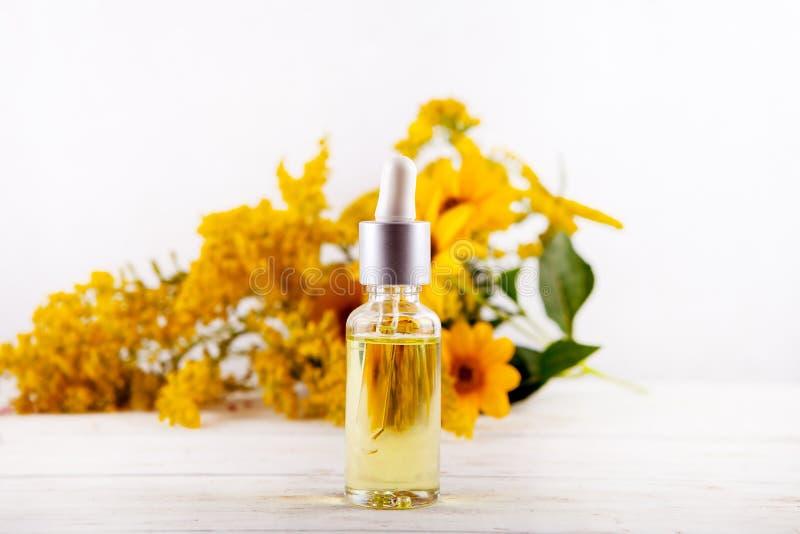 Huile essentielle tombant des huiles essentielles de compte-gouttes en verre et des herbes médicales de fleurs image libre de droits