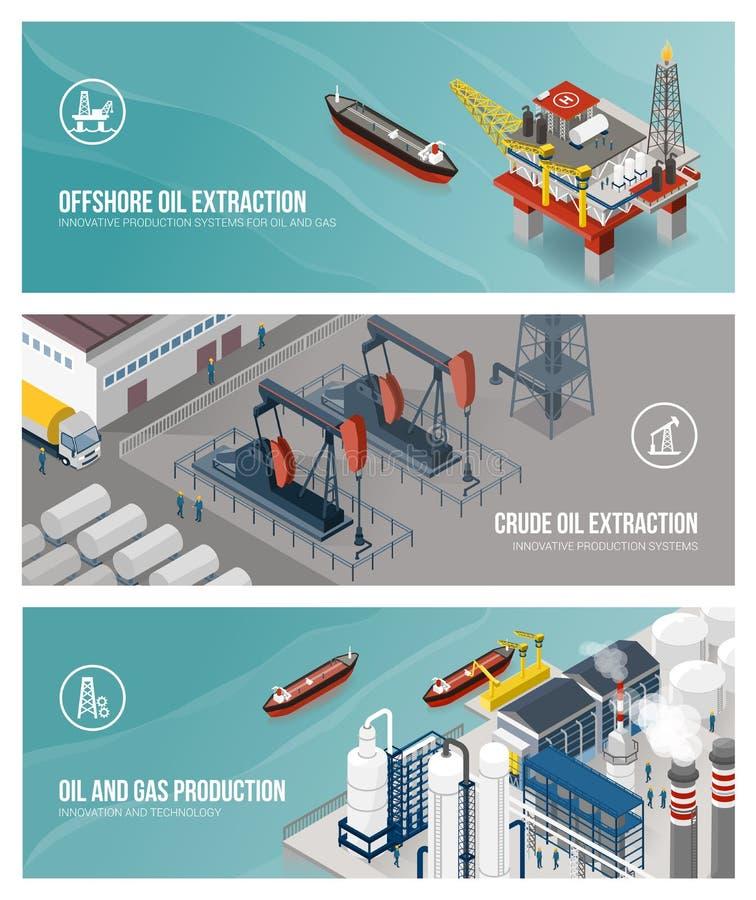 Huile et industrie du gaz et production illustration stock