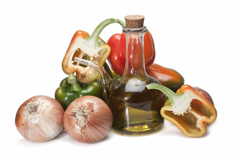 Huile et légumes d'olive. images libres de droits