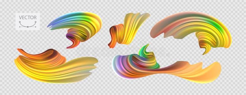 Huile jaune réaliste multicolore d'illustration courante de vecteur, peinture acrylique Couleurs acides Courses de brosse réglées illustration stock