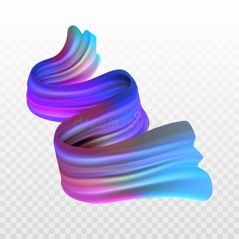 Huile réaliste multicolore d'illustration courante de vecteur, peinture acrylique Couleurs acides Course de brosse d'isolement su illustration libre de droits