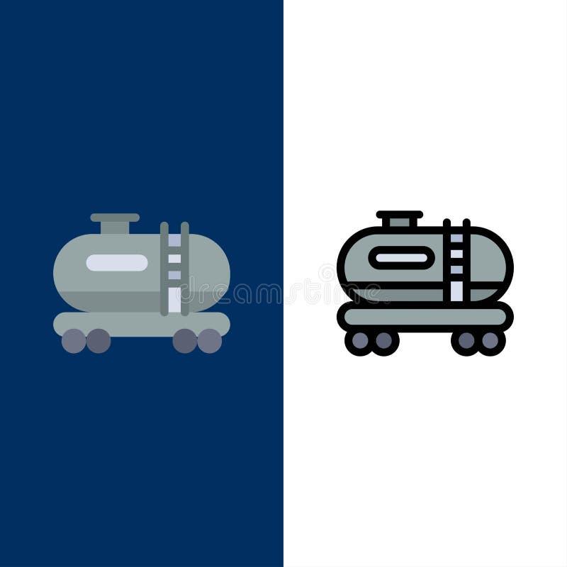 Huile, réservoir, icônes de pollution L'appartement et la ligne icône remplie ont placé le fond bleu de vecteur illustration libre de droits