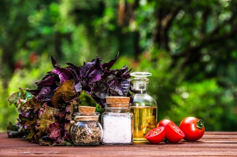 Huile, sel et épices d'olive Ingrédients pour la salade d'été Verts frais et tomates pour la salade photo libre de droits