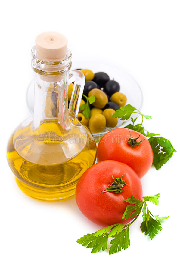 Huile, tomates et verts d'olive image libre de droits